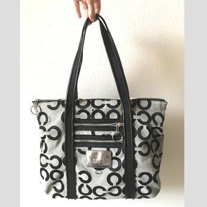 Coach black & grey opt art poppy tote